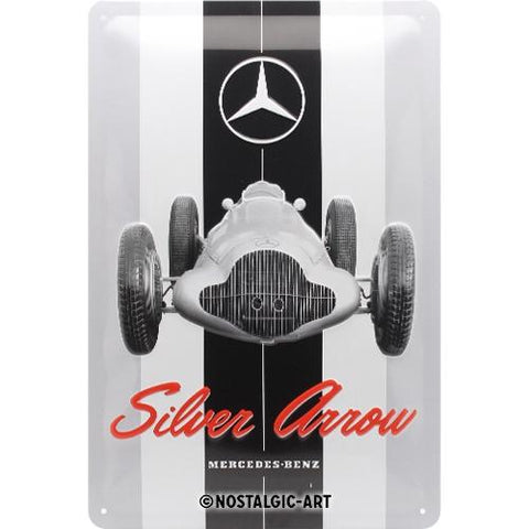 Mercedes Benz Silver Arrow 20x30cm Tin Sign