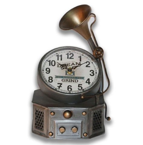 29cm Phonograph Steam Punk Desk Top Clock