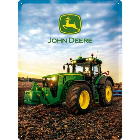 John Deere Blue Sky 30x40cm Tin Sign