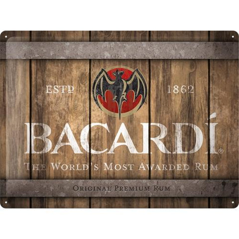 Bacardi Wood Barrel Logo 30x40cm sign