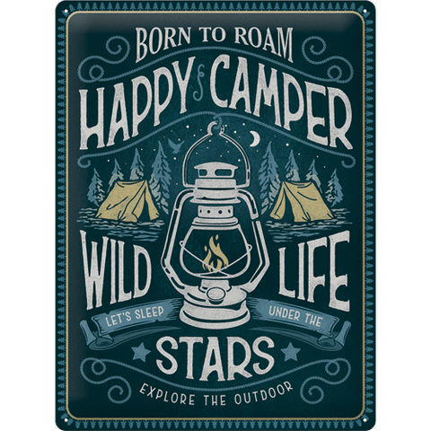 Happy Camper 30x40cm Tin Sign