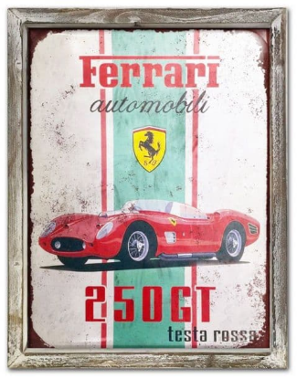 Ferrari 44cm x 34cm Wood Framed Metal Art