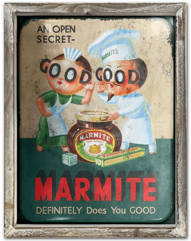 Marmite Vintage 44cm x 34cm Wood Framed Metal Art