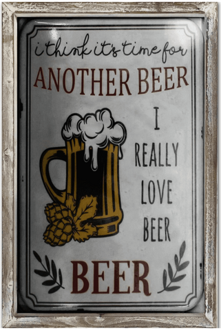 Another Beer 44cm x 34cm Wood Framed Metal Art