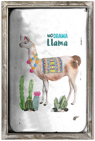 No Drama Llama 44cm x 34cm Wood Framed Metal Art