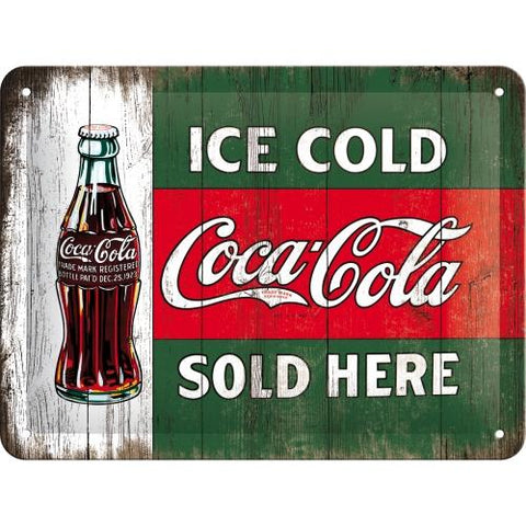 Ice Cold Coca Cola Sold Here 15x20cm sign
