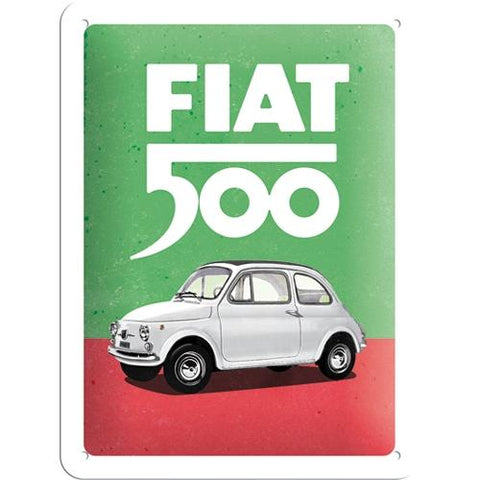 Fiat 500 Italian Colours 15x20cm sign
