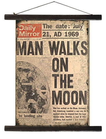 Man Walks On The Moon 45cm x 65cm Antique Style Banner