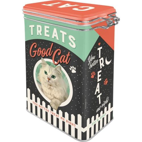 Cat Treats Clip Top Tin