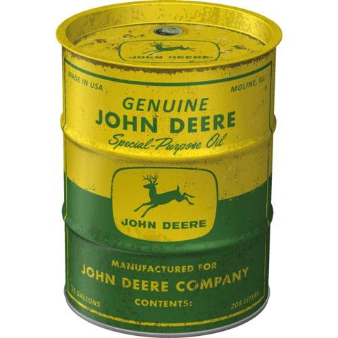 John Deere Barrel Style Money Tin