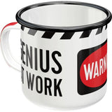 Warning Genius At Work Enamel Mug
