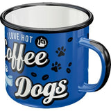 I Love Hot Coffee and Dogs Enamel Mug