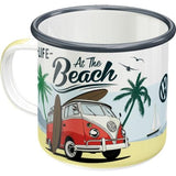 VW Volkswagen At The Beach Enamel Mug