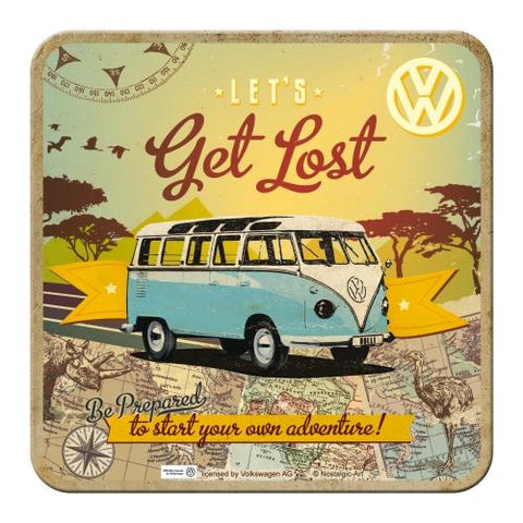 VW Volkswagen Get Lost Metal Coaster