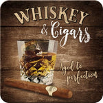 Whiskey and Cigars Metal Coaster
