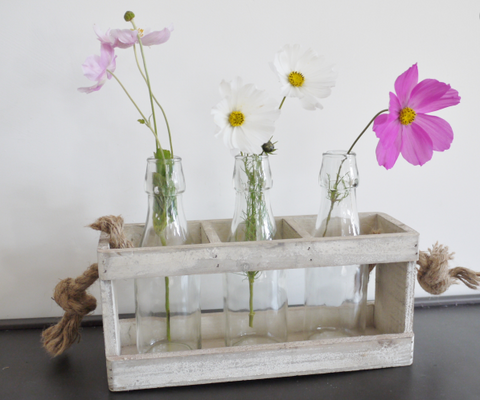 Flower Holder with Glass Bottles