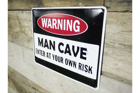 Warning Man Cave tin sign