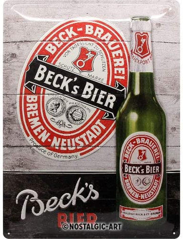 Nostalgic-Art Retro Tin Sign – Beck's – Green Bottle Wood 30 x 40 cm