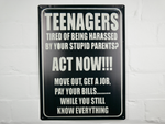 Teenagers Act Now tin sign