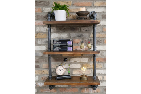 Wooden Pipe Shelves