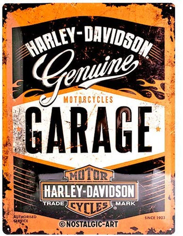 Nostalgic-Art Retro Tin Sign – Harley-Davidson Garage 30 x 40 cm