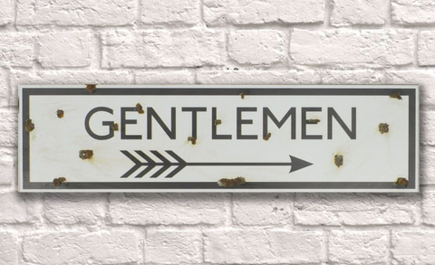Gentlemen Rusty Metal Sign 20cm x 56cm