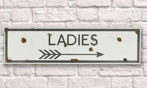 Ladies Rusty Metal Sign 15cm x 56cm