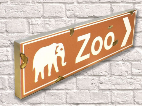 Zoo Rusty Metal Sign 15cm x 56cm