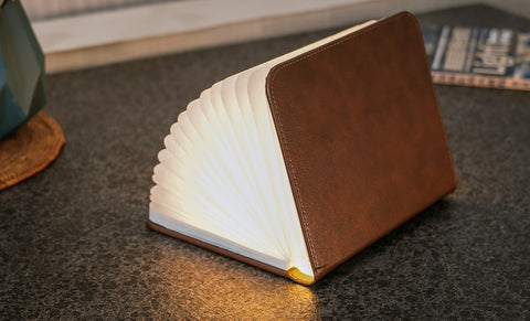 Gingko Design Book Light - Brown Leather