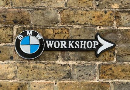 BMW Workshop Cast Iron Arrow sign
