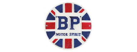 BP Motor Spirit Cast Iron sign