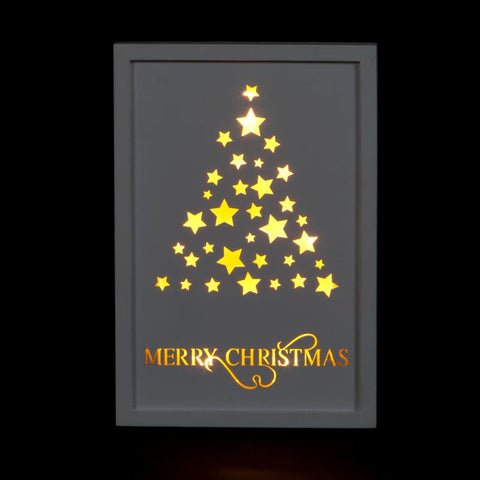 Snowtime Framed LED Wooden Sign - Tree