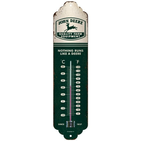 John Deere Green and White Thermometer