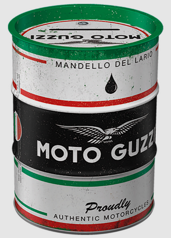 Moto Guzzi Barrel Style Money Tin