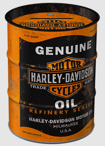 Genuine Motorcycles Harley Davidson Barrel Style Money Tin