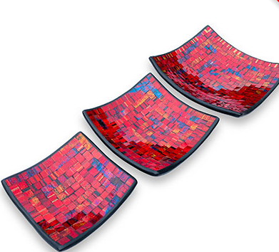 Red Mosaic Plate Set of 2