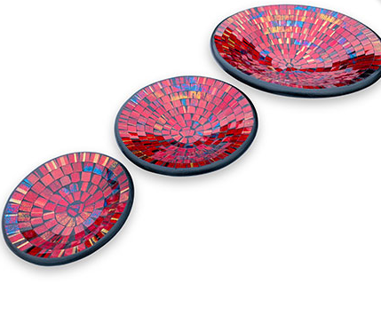Red Mosaic Plate Set Round