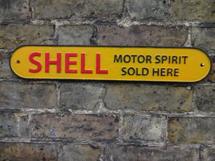 Small Shell Motor Spirit Cast Iron sign