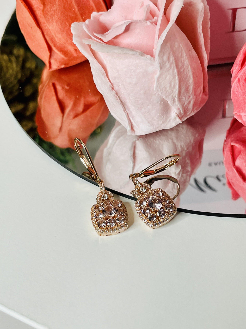 morganite jewelry sterling silver earrings
