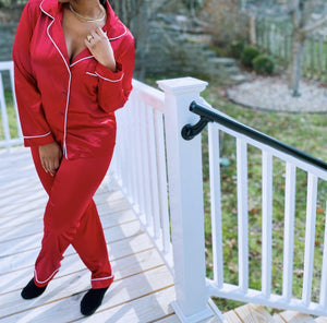 red and green pant satin pajama set