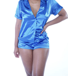 blue satin pajama set