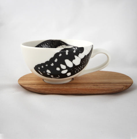 Love Milo Butterfly Tea Cup with Wooden Saucer
