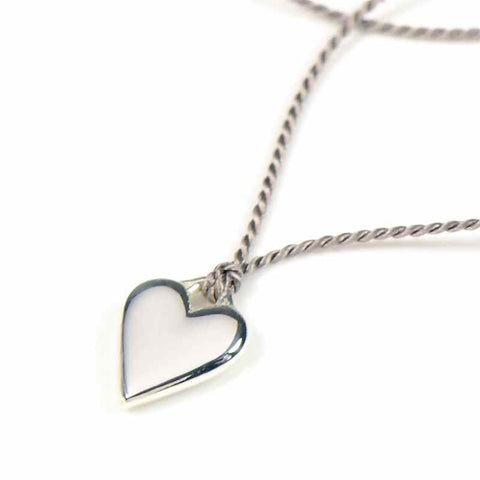 Silk Necklace Heart Charm Silver