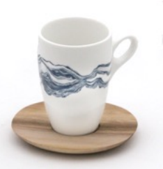 Love Milo Indigo Mug with Wooden Saucer