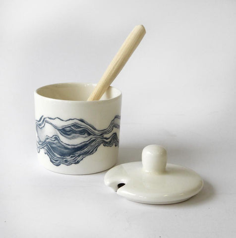 Love Milo Indigo Sugar Pot with Wooden Spoon