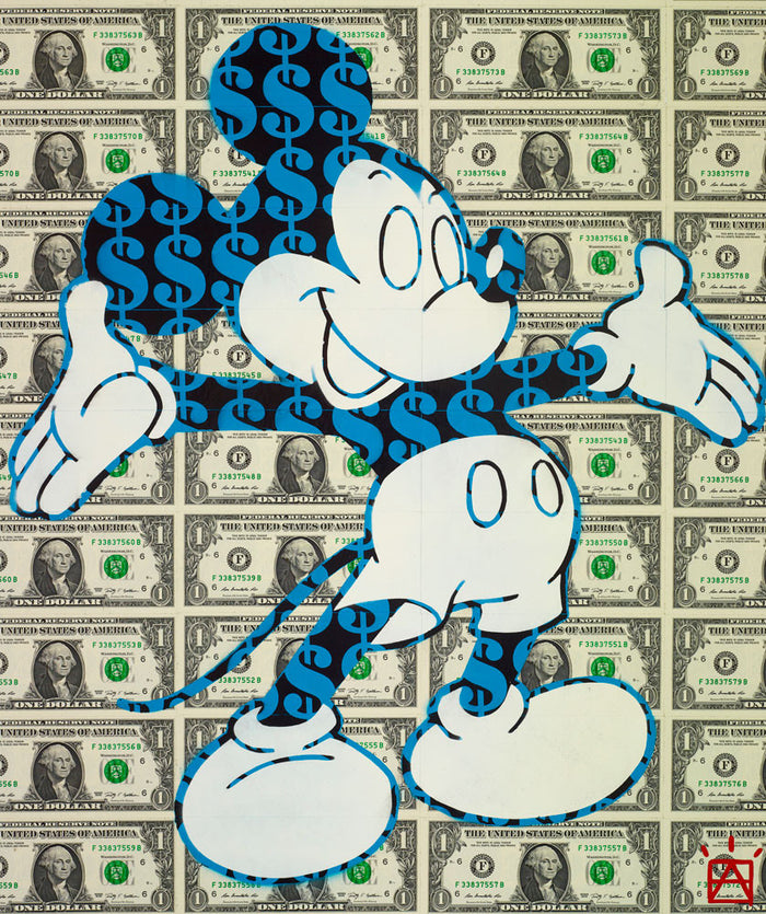 Mickey Mouse on Dollar bills, Disney contemporary art by Ben Allen