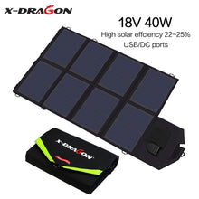 Load image into Gallery viewer, X-DRAGON Solar Panel 40W Solar Battery Charger for iPhone Sumsung Phones Laptops 12V Car Outdoors Battery Hiking