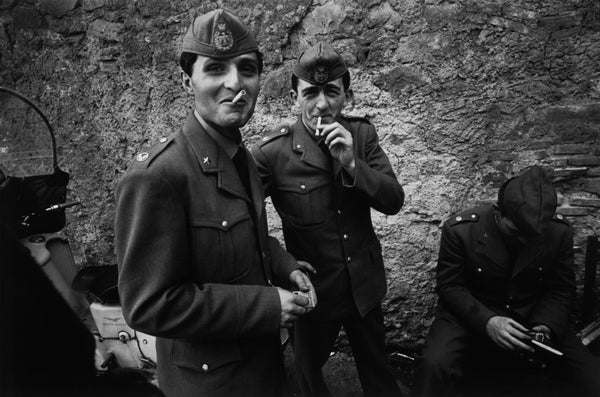 Bruno Barbey - Men on leave from their military service, Rome, Italy, 1963