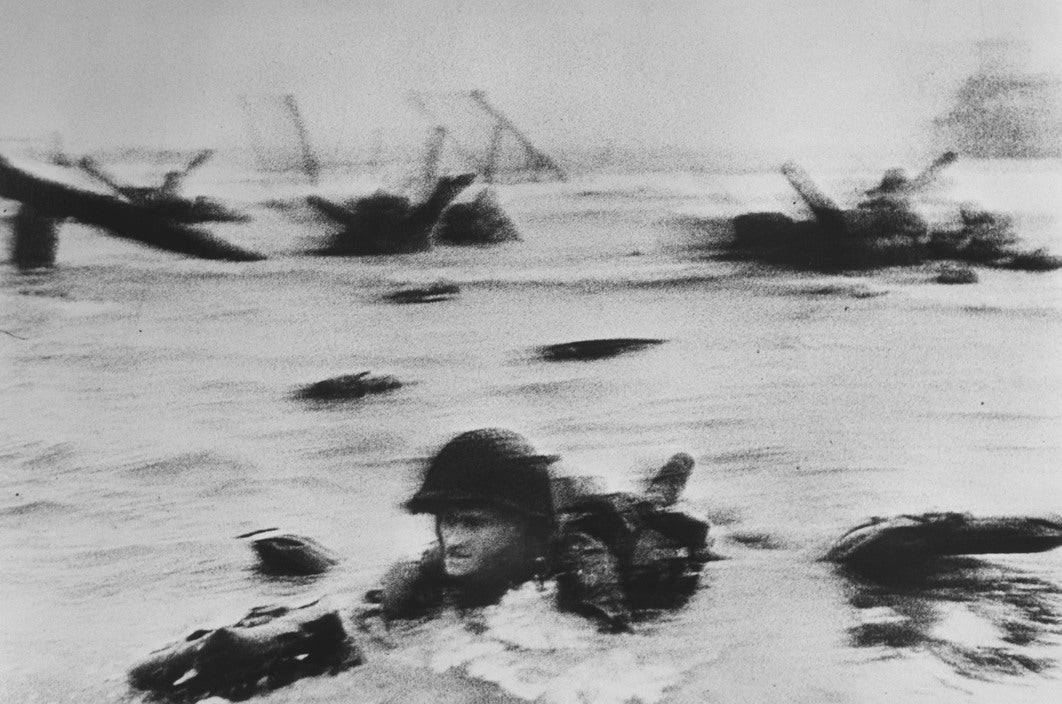 Robert Capa - American soldiers landing on Omaha Beach, D-Day, Normandy, France June 6, 1944