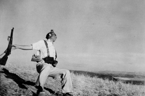 Robert Capa - Death of a Loyalist Militiaman Man near Espejo,  Córdoba Front, Spain, 1936